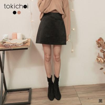 東京著衣 溫柔淑女假口袋造型絨布磨毛A字短裙-S.M.L
