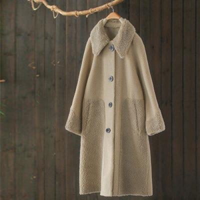 羊羔絨拼接翻領大衣外套長袖風衣寬鬆上衣-設計所在