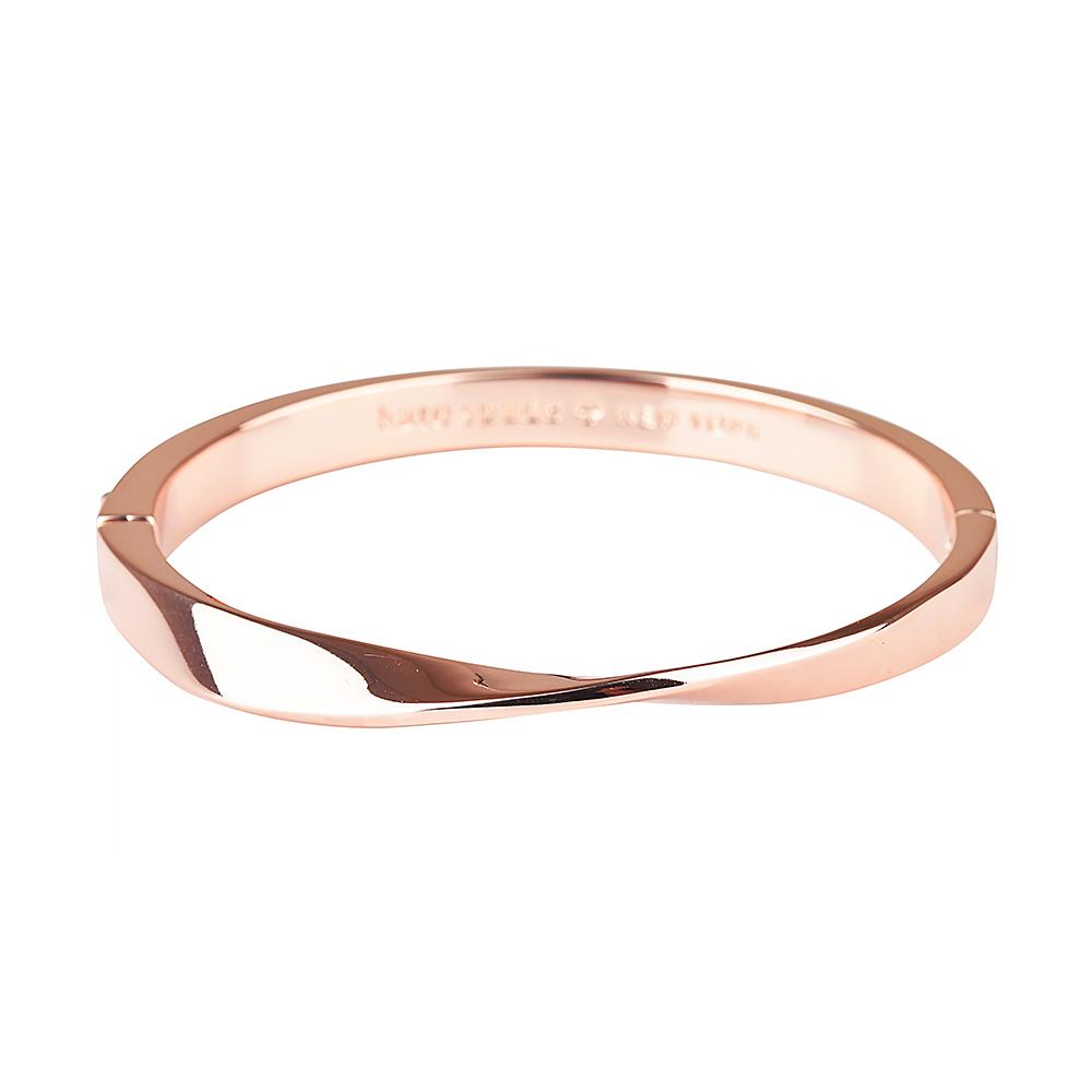 kate spade經典扭曲設計扣式手環(玫瑰金)