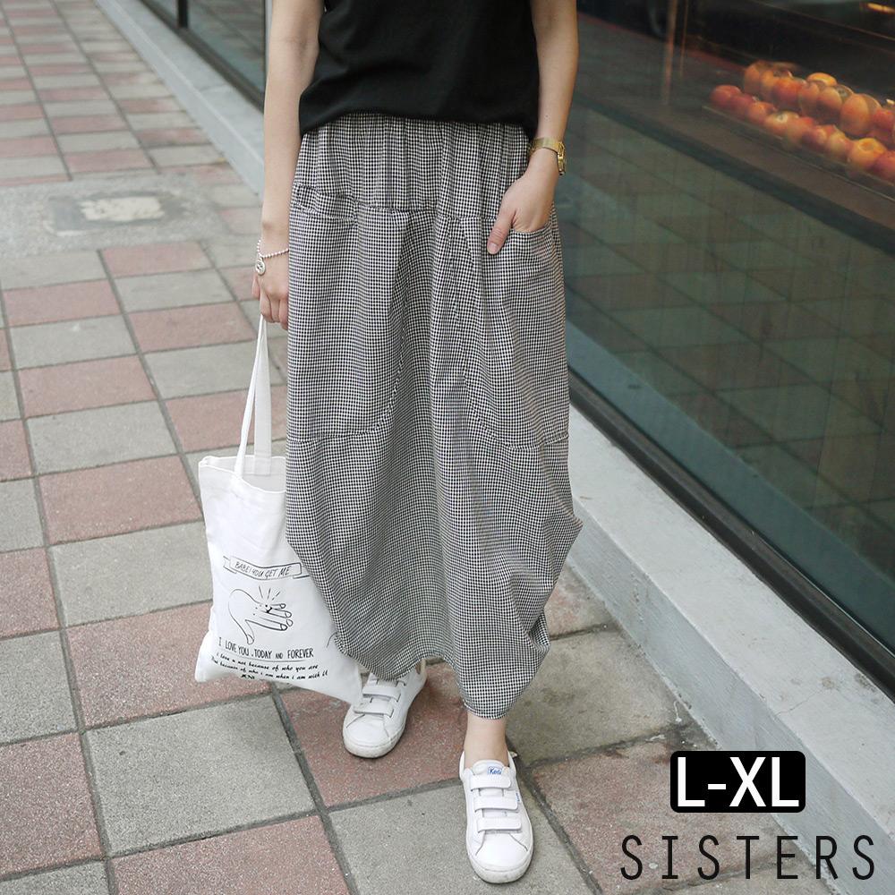 棉麻黑白小格子立體抓褶長裙L-XL SISTERS