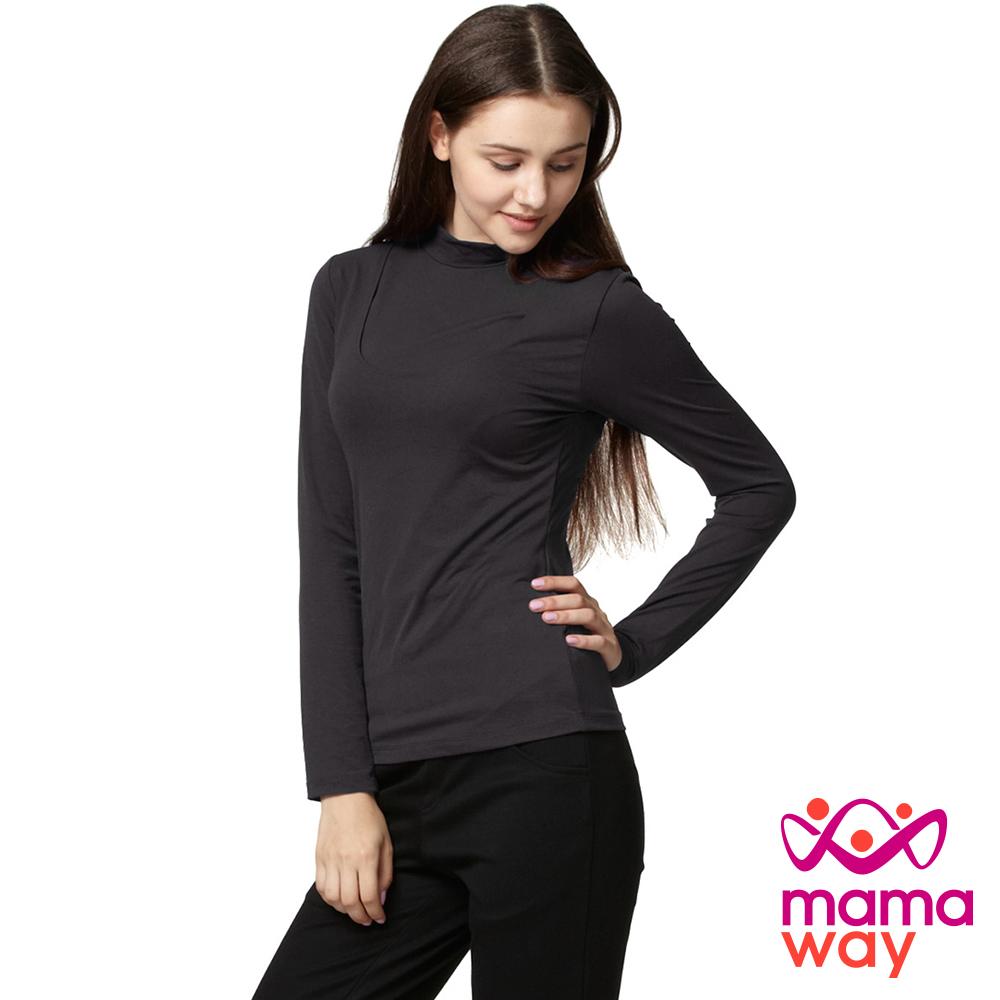 【Mamaway】磨毛絲柔立領哺乳衣(共五色)