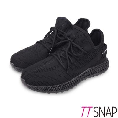 TTSNAP健走鞋-運動輕量織面綁帶慢跑休閒鞋 黑