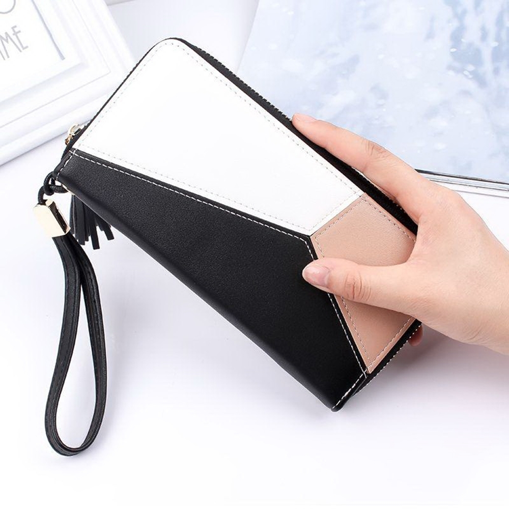 Desir-拼接流蘇大容量手機錢包長夾-3色