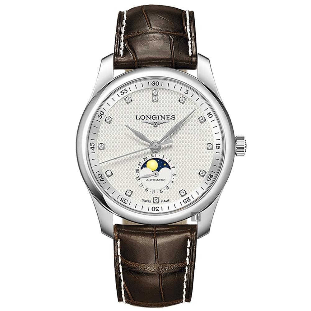 LONGINES 浪琴 Master 巨擘系列月相真鑽機械錶-40mm L29094773