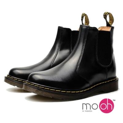 mo.oh真皮男女款鬆緊帶短靴切爾西靴-黑色