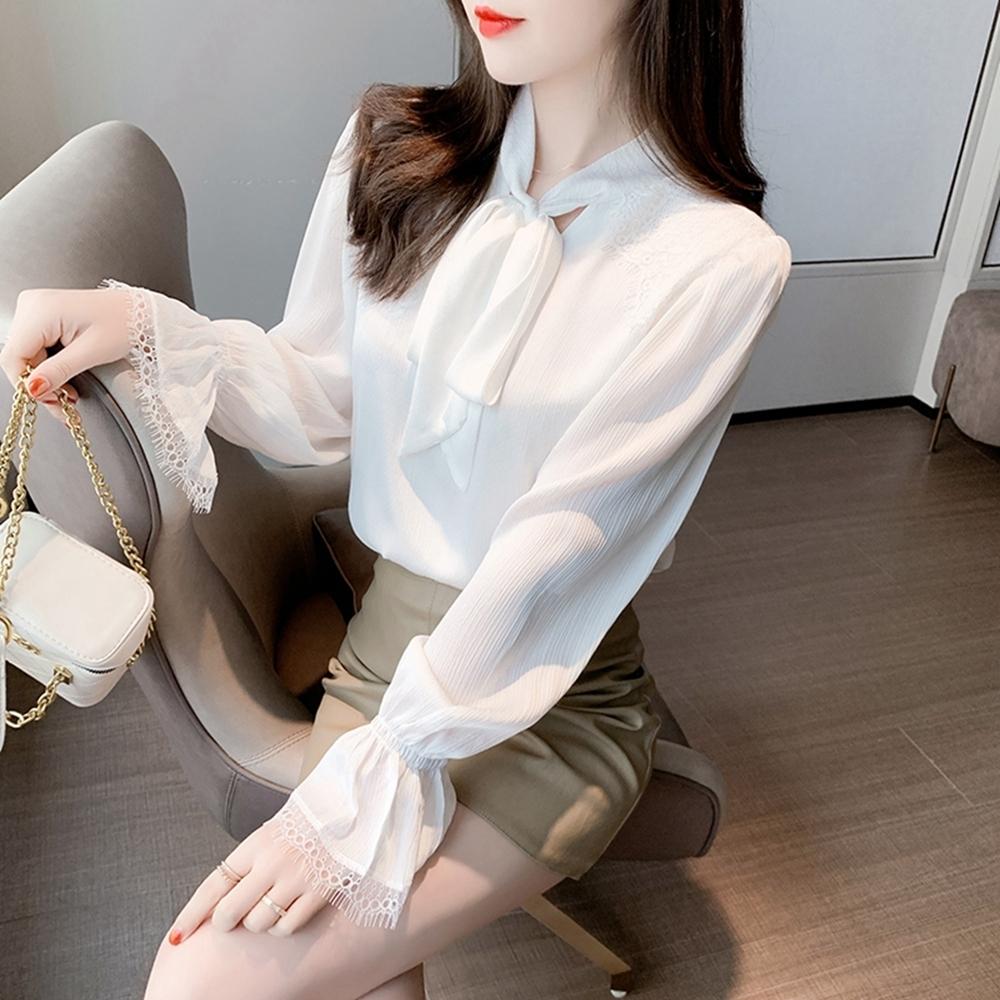 法式優雅精緻喇叭袖繫帶雪紡上衣S-2XL白色戀人