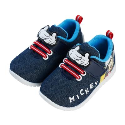 迪士尼童鞋  米奇  牛仔布寶寶休閒鞋-藍