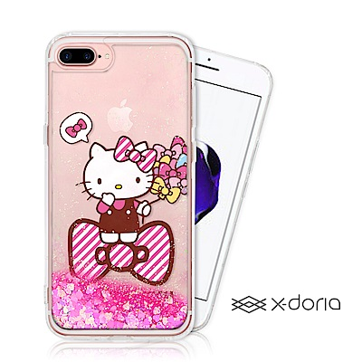 Hello Kitty iPhone 7/8 plus 亮片流沙手機軟殼 - 蝴...