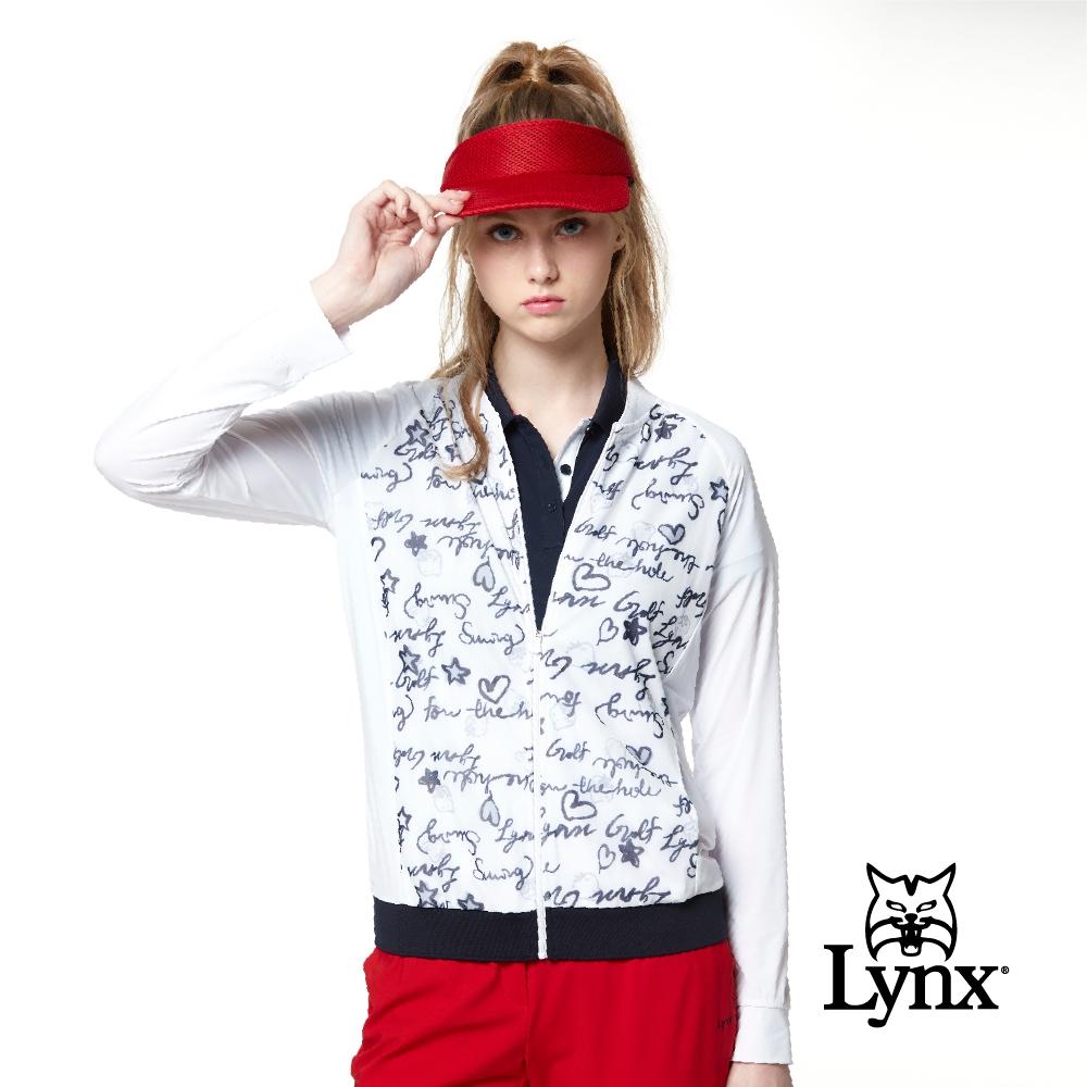 【Lynx Golf】Korea 女款滿版英文草寫印花透氣網布長袖外套-白色