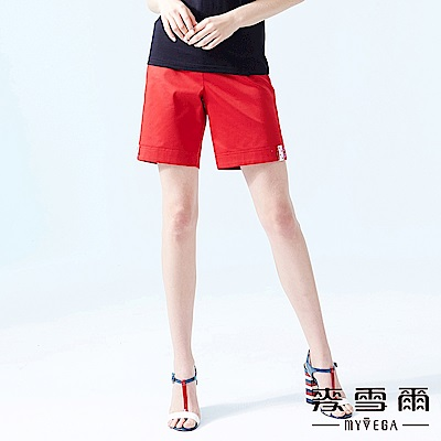 【麥雪爾】棉質點點拼布小鈕釦俏麗短褲-紅