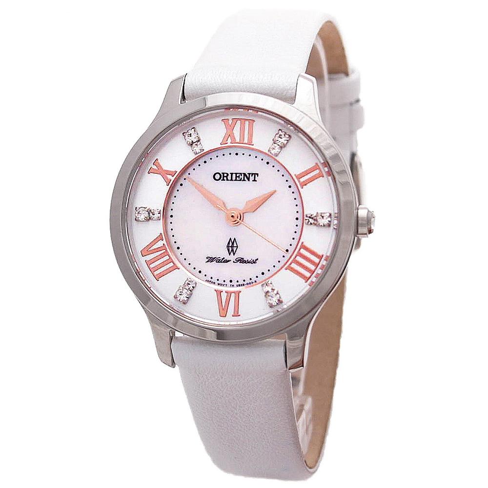 ORIENT  絕美愛琴海藍寶石珍珠母貝石英女錶(FUB9B005W0)-白面x30mm