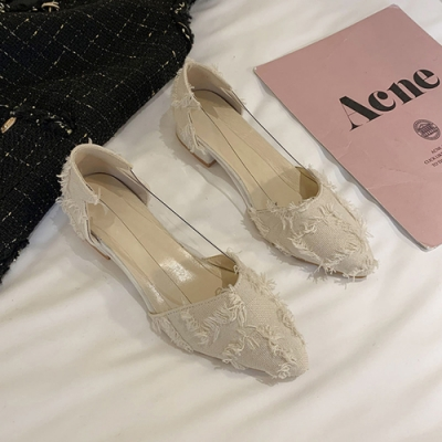 KEITH-WILL時尚鞋館 氣質仙女魅力尖頭粗跟鞋-米