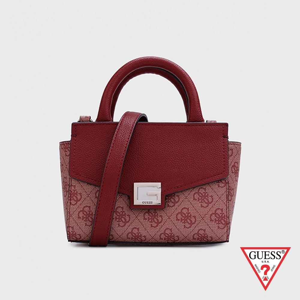 GUESS-女包-時尚拼接字母壓花手提包-紅 原價2490