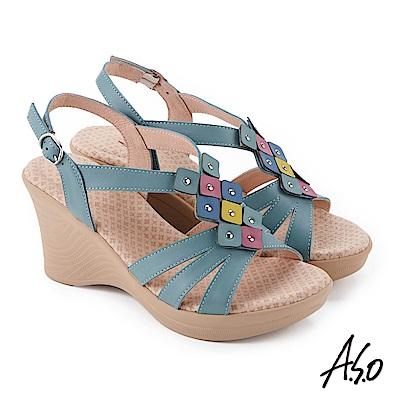 A.S.O 挺麗氣墊 撞色拼接全真皮奈米楔型涼鞋 綠