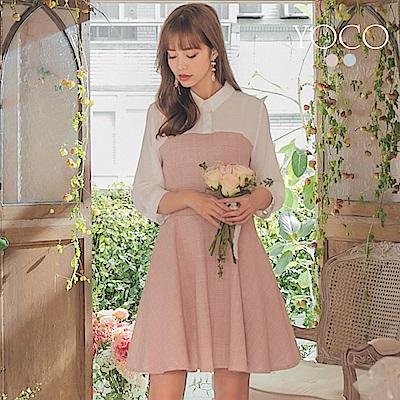 東京著衣-YOCO 甜美風經典襯衫領口拼接格紋洋裝-S.M.L(共兩色)