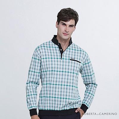 ROBERTA諾貝達 台灣製 抗菌防臭 純棉長袖POLO棉衫  藍
