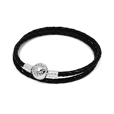Pandora 潘朵拉 925純銀圓珠開扣式 雙圈皮革皮繩手鍊手環 黑色