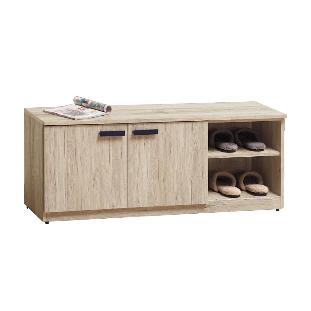 柏蒂家居-米亞4尺二門右開放坐式鞋櫃/座鞋櫃/穿鞋椅-120x30x48cm @ Y!購物