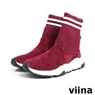 viina 羊京襪套休閒鞋-深紅