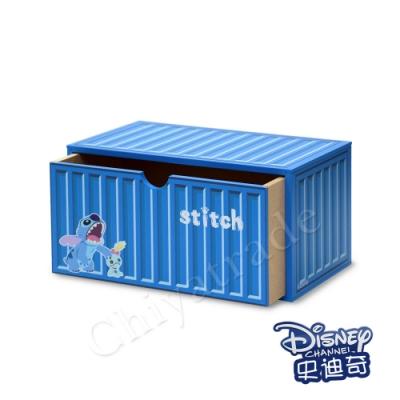 CY本舖 【迪士尼Disney】史迪奇 貨櫃屋造型 單抽屜 收納盒 桌上收納 文具收納(正版授權)
