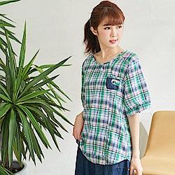慢 生活 田園風配色格紋上衣-綠色
