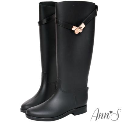 Ann'S倫敦漫步-純色釦帶顯瘦騎士雨靴