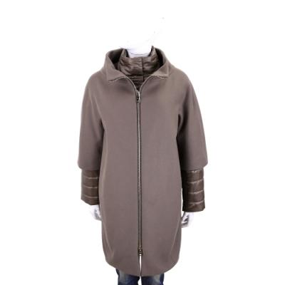 HERNO 可可色假兩件設計拉鍊式羊毛大衣(絎縫袖及立領前襟皆可拆)