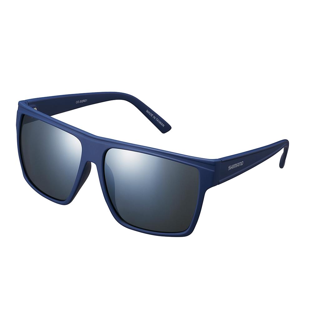 【SHIMANO】SQUARE 太陽眼鏡 霧面海軍藍色鏡框(銀色煙燻鏡面鏡片)