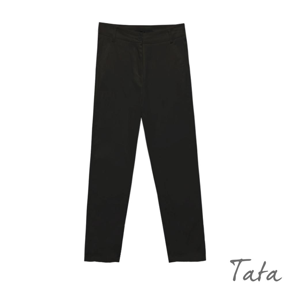 素色口袋九分長褲 共二色 TATA-(S~L) (黑色)