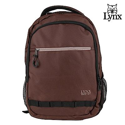 【LYNX】美國山貓運動休閒多隔層機能後背包-咖啡色