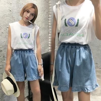 【韓國K.W.】韓時尚夏日氛圍荷葉邊五分褲
