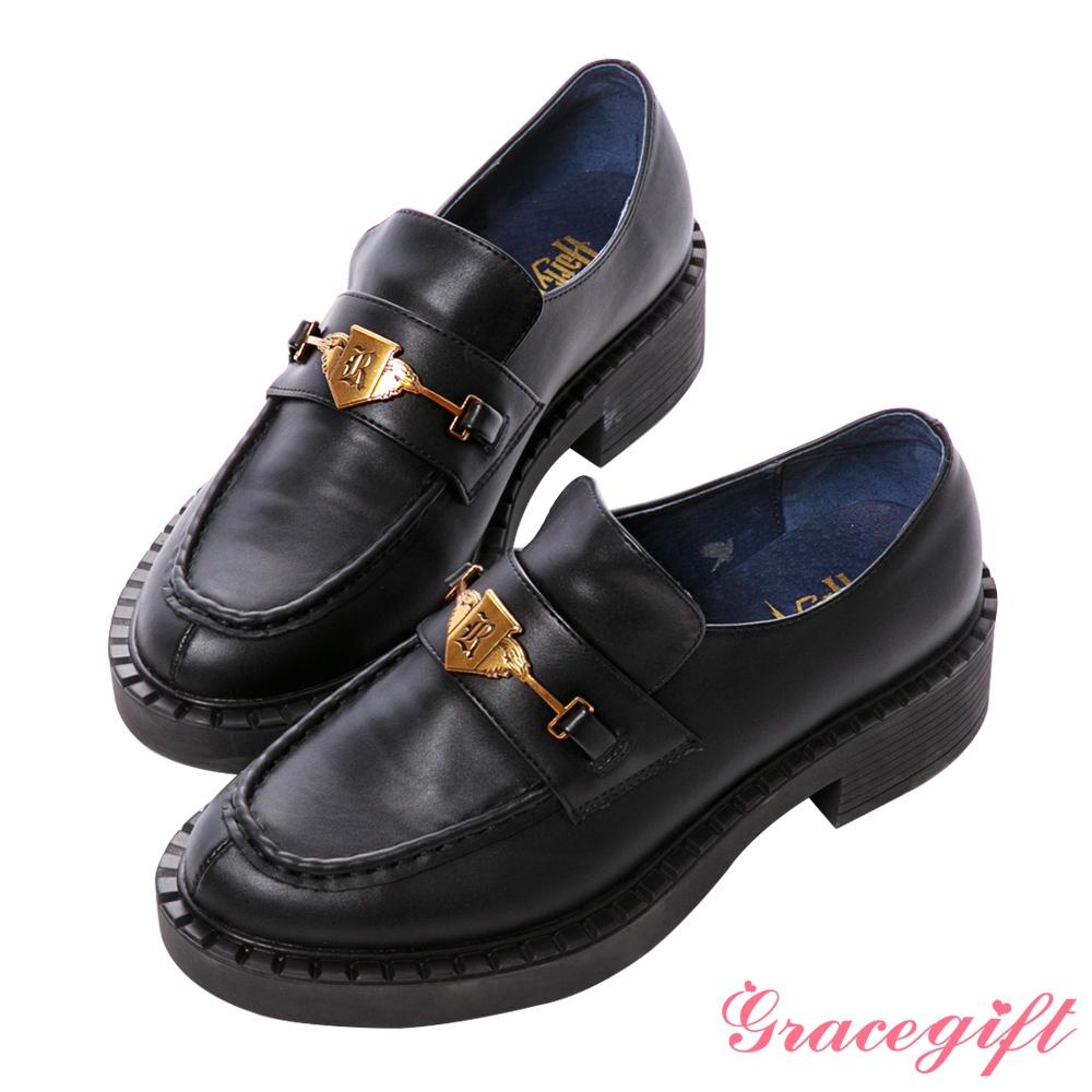 Grace gift-哈利波特雷文克勞學院徽章厚底樂福鞋 藍