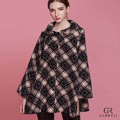 GLORY21菱形紋翻領傘狀外套