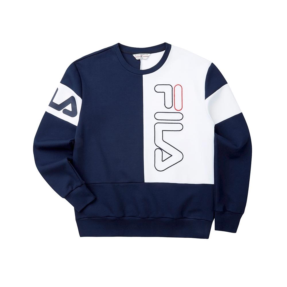 FILA #LINEA ITALIA 長袖圓領T恤-丈青 1TET-5406-NV