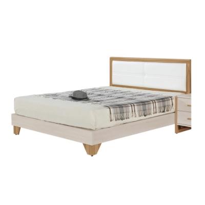 文創集 比特利現代5尺皮革雙人床台組合(床頭片+床底+無床墊)-152.5x195.5x97cm免組