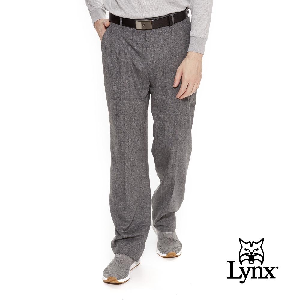 【Lynx Golf】男款歐洲進口布料伸縮腰頭白線格紋雙折西裝長褲-灰色