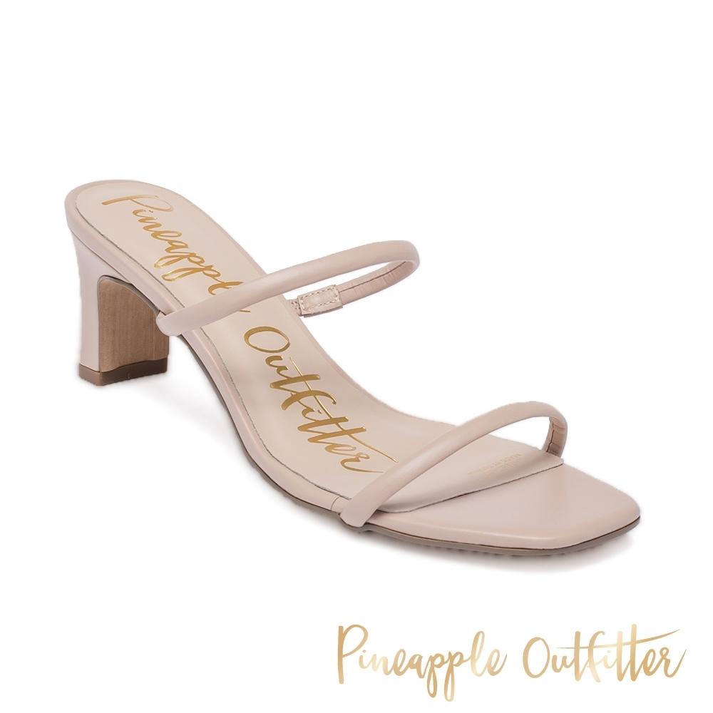 Pineapple Outfitter 氣質款女鞋 雙細帶粗高跟涼鞋-藕粉色