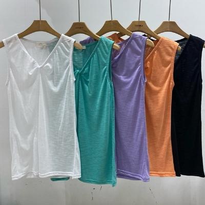 T恤 V領扭結涼感無袖T恤Mt-0653-創翊韓都