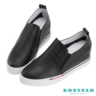 Robinlo 美式圖騰沖孔牛皮內增高休閒鞋 黑色