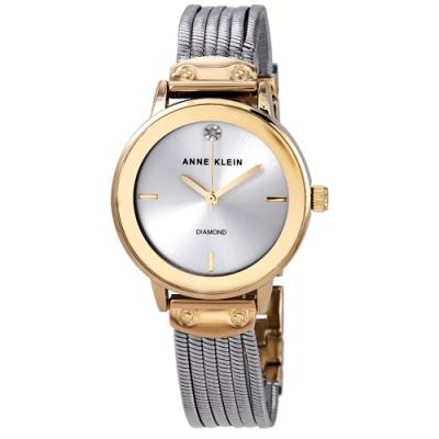 Anne Klein 維也納圓舞曲鑽眼腕錶-銀x30mm