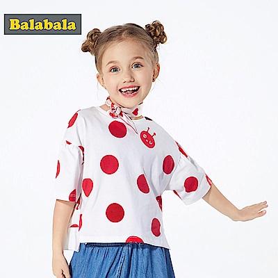 Balabala巴拉巴拉-荷葉邊袖寬鬆純棉短袖T恤-女(2色)