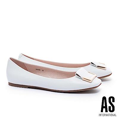 平底鞋 AS 簡約半方型飾釦反折設計方頭全真皮平底鞋-白
