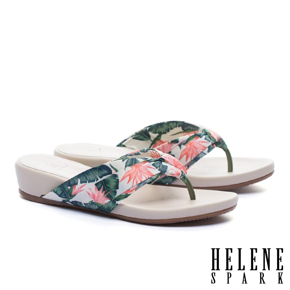 拖鞋 HELENE SPARK 熱情艷夏花布楔型低跟夾腳拖鞋-米