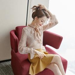 設計所在Lady-碎花襯衫荷葉邊喇叭袖雪紡衫(S-XL可選)