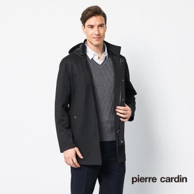 Pierre Cardin皮爾卡登 男裝 都會休閒立領可拆帽式磨毛風衣外套-黑色(5205782-99)