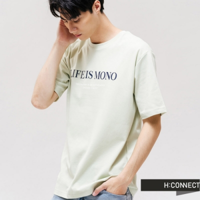 H:CONNECT 韓國品牌 男裝 -質感文字圓領T-shirt-綠