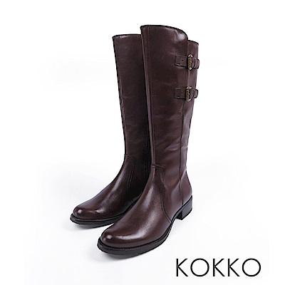 KOKKO -歐洲同步質感牛皮平底長靴-濃情咖