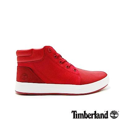 Timberland 男款紅色舒適時尚拼接中筒板鞋|A1OHG