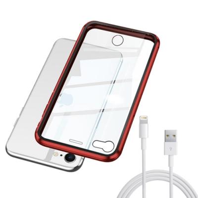 [買手機殼送充電線] iPhone SE 2020 SE2 紅色款 金屬 透明 全包覆 磁吸雙面玻璃殼 (iPhoneSE2020手機殼 iPhoneSE2020保護殼 )