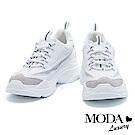 休閒鞋 MODA Luxury 復古潮流異材質拼接厚底休閒鞋-白